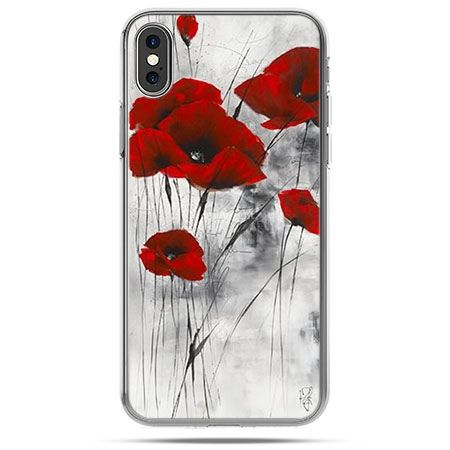 Etui na telefon iPhone XS - czerwone maki