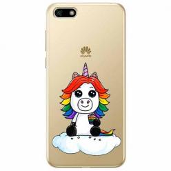 Etui na telefon Huawei Y5 2018 - Tęczowy jednorożec na chmurce.