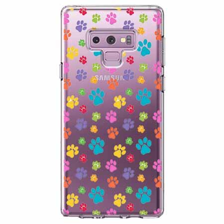 Etui na Samsung Galaxy Note 9 - Kolorowe psie łapki.
