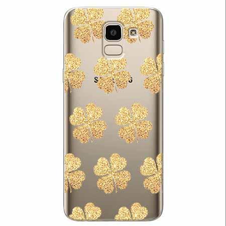 Etui na Samsung Galaxy J6 2018 - Złote koniczynki.
