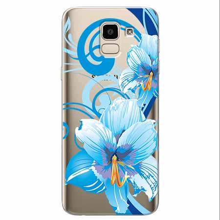 Etui na Samsung Galaxy J6 2018 - Niebieski kwiat północy.