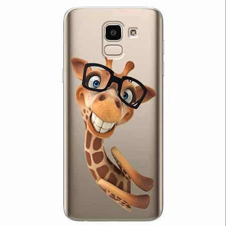 Etui na Samsung Galaxy J6 2018 - Wesoła żyrafa w okularach.