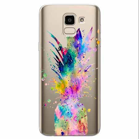 Etui na Samsung Galaxy J6 2018 - Watercolor ananasowa eksplozja.
