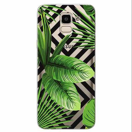 Etui na Samsung Galaxy J6 2018 -  Egzotyczne liście bananowca.