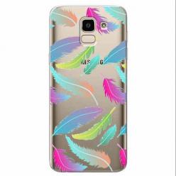 Etui na Samsung Galaxy J6 2018 - Tęczowe piórka.