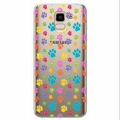 Etui na Samsung Galaxy J6 2018 - Kolorowe psie łapki.