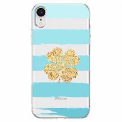 Etui na telefon Apple iPhone XR - Złota czterolistna koniczyna.