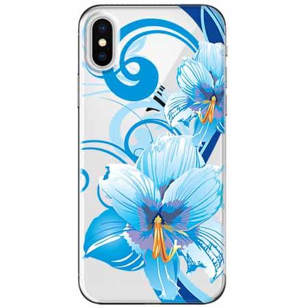 Etui na telefon Apple iPhone XS Max -  Niebieski kwiat północy.