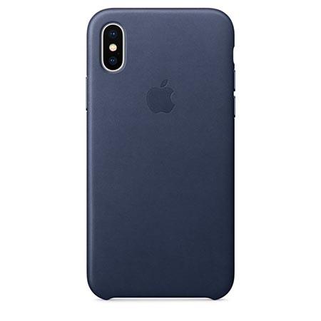 Oryginalne etui Apple na iPhone XS Leather Case - Skórzane Granatowy