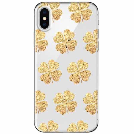 Etui na telefon Apple iPhone XS - Złote koniczynki.