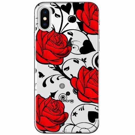 Etui na telefon Apple iPhone XS - Czerwone róże.