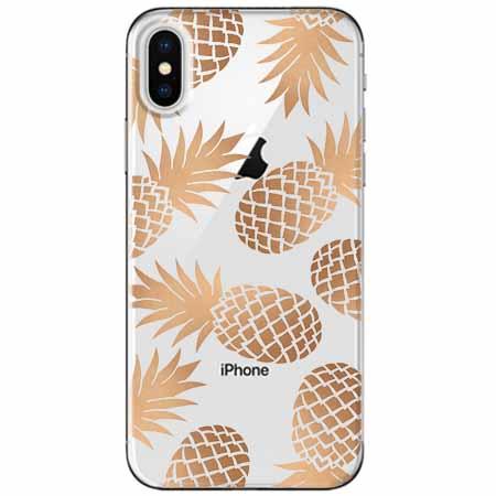 Etui na telefon Apple iPhone XS - Złote ananasy.
