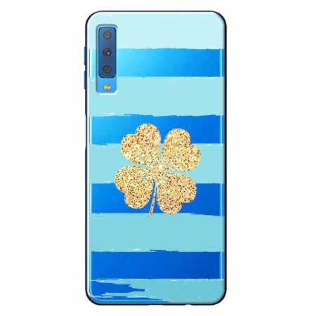 Etui na Samsung Galaxy A7 2018 - Złota czterolistna koniczyna.