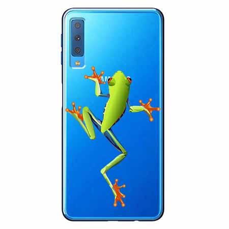 Etui na Samsung Galaxy A7 2018 - Zielona żabka.
