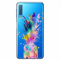 Etui na Samsung Galaxy A7 2018 - Watercolor ananasowa eksplozja.