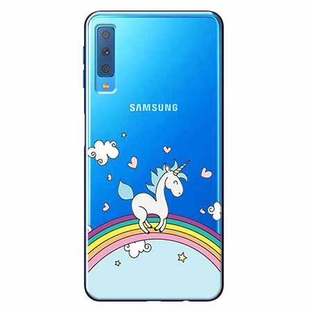 Etui na Samsung Galaxy A7 2018 - Jednorożec na tęczy.