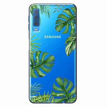 Etui na Samsung Galaxy A7 2018 - Zielone liście palmowca