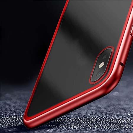 Etui metalowe Magneto na iPhone X - Czerwony