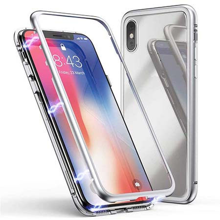Etui metalowe Magneto na iPhone X - Srebrny