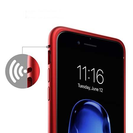 Etui metalowe Magneto na iPhone 8 Plus - Czerwony