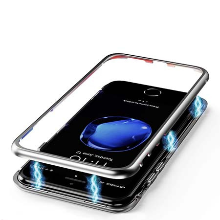 Etui Magnetyczne metalowe Magneto na iPhone 8 Plus - Srebrny