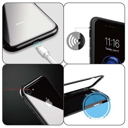 Etui metalowe Magneto na iPhone 8 - Czarny