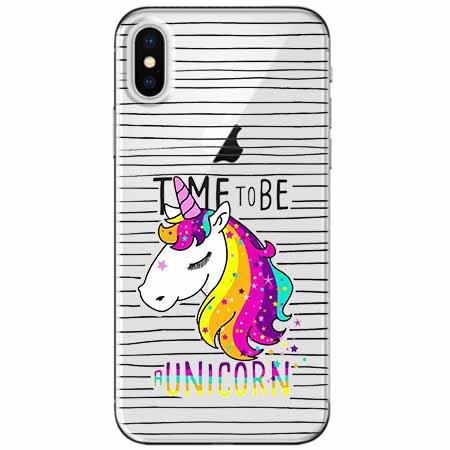 Etui na telefon Apple iPhone X - Time to be unicorn - Jednorożec.