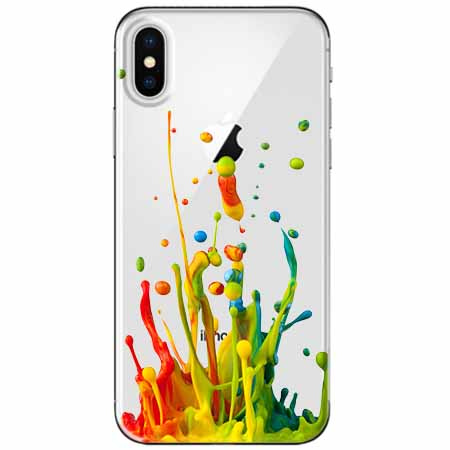 Etui na telefon Apple iPhone X - Kolorowy splash.