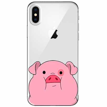 Etui na telefon Apple iPhone X - Słodka różowa świnka.