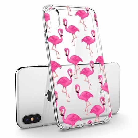 Etui na telefon Apple iPhone X - Różowe flamingi.