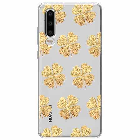 Etui na Huawei P30 - Złote koniczynki