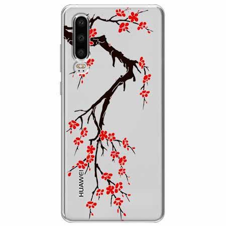 Etui na Huawei P30 - Krzew kwitnącej wiśni.