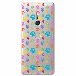 Etui na Sony Xperia XZ3 - Kolorowe psie łapki.