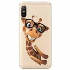 Etui na Xiaomi Mi A2 Lite - Wesoła żyrafa w okularach.