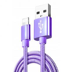 Kabel pleciony Lightning iPhone - Fioletowy.