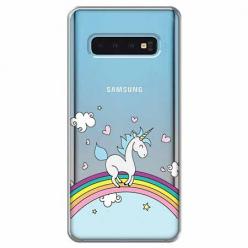 Etui na Samsung Galaxy S10 Plus - Jednorożec na tęczy.