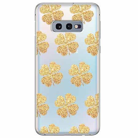 Etui na Samsung Galaxy S10e - Złote koniczynki.