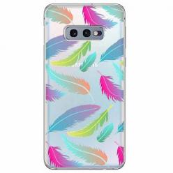 Etui na Samsung Galaxy S10e - Tęczowe piórka.