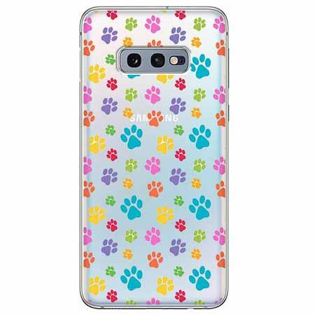Etui na Samsung Galaxy S10e - Kolorowe psie łapki.