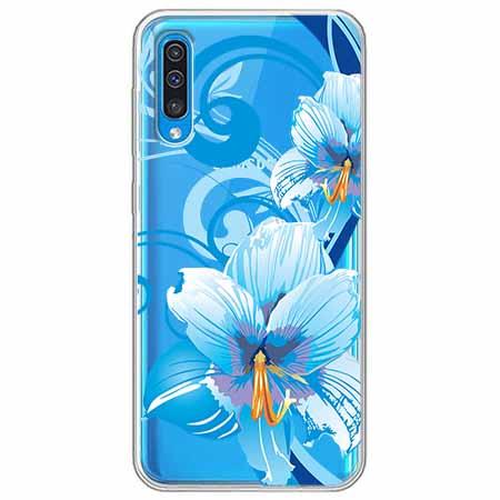 Etui na Samsung Galaxy A50 - Niebieski kwiat północy.