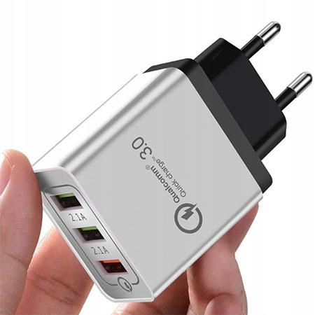 ŁADOWARKA SIECIOWA USB QUICK CHARGE 3 - Biały