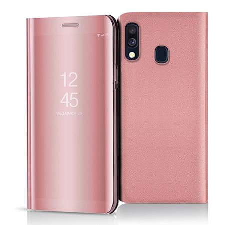 Etui na Samsung Galaxy A40 - Flip Clear View z klapką - Różowy.
