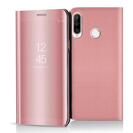 Etui na Huawei P30 Lite - Flip Clear View z klapką - Różowy.