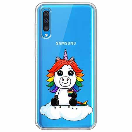 Etui na Samsung Galaxy A70 - Tęczowy jednorożec na chmurce.