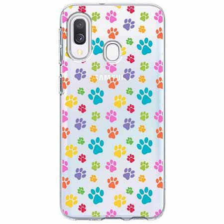 Etui na Samsung Galaxy A40 - Kolorowe psie łapki.