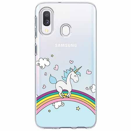 Etui na Samsung Galaxy A40 - Jednorożec na tęczy.