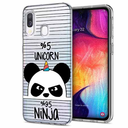 Etui na Samsung Galaxy A40 - Ninja Unicorn - Jednorożec.