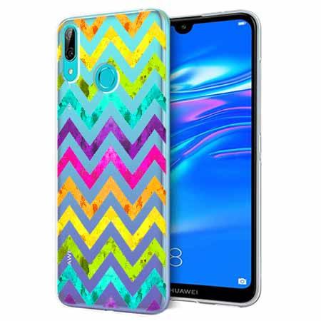 Etui na Huawei Y6 2019 - Tęczowy przeplataniec.