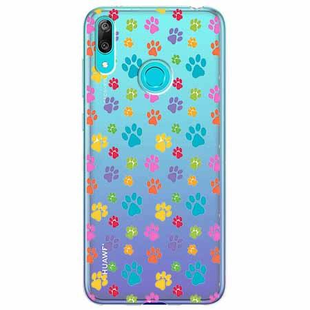 Etui na Huawei Y6 2019 - Kolorowe psie łapki.