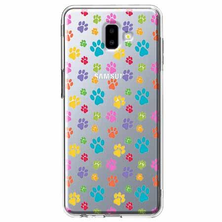 Etui na Galaxy J6 Plus - Kolorowe psie łapki.